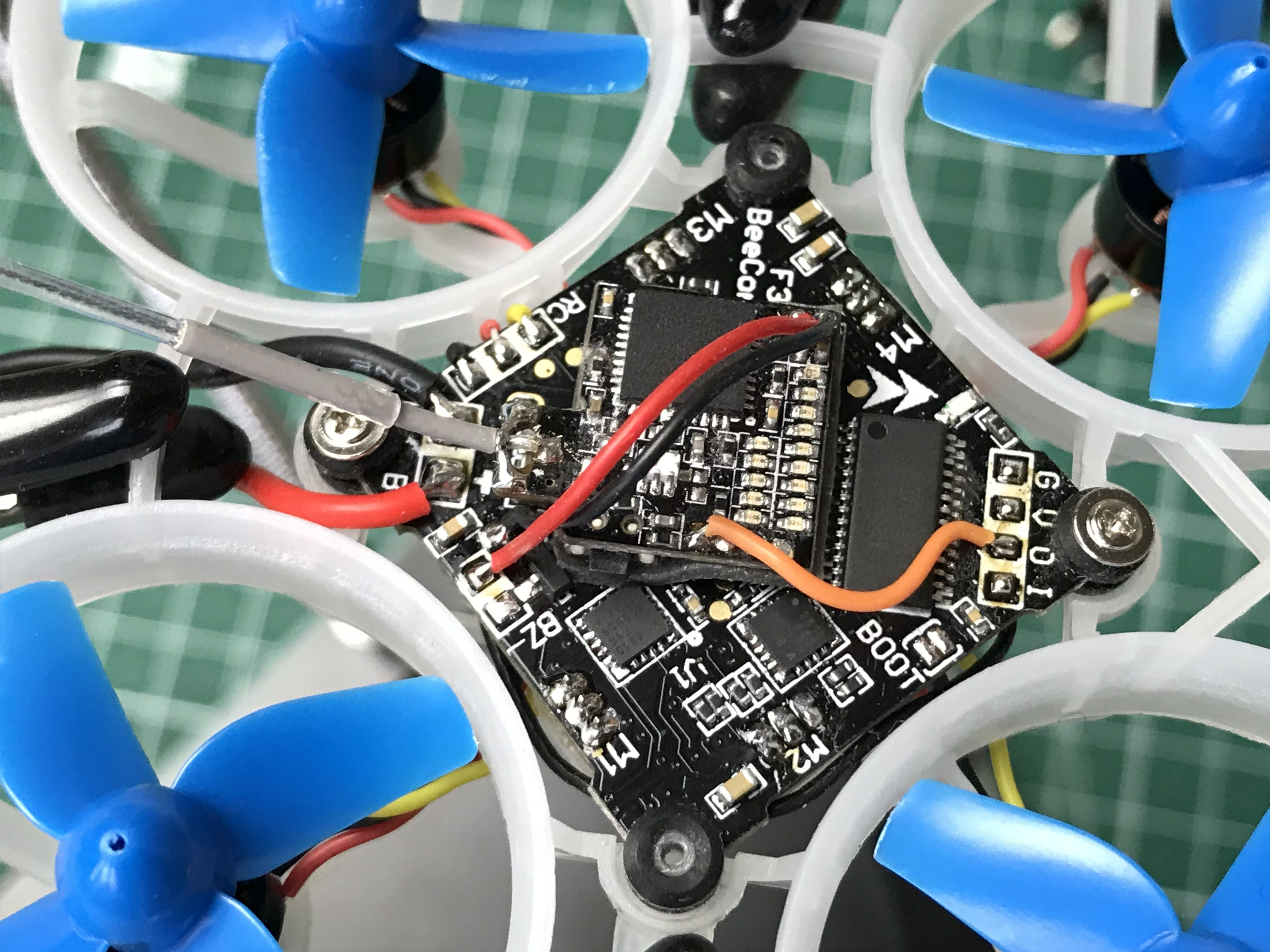 VTX soldered to the flight controller